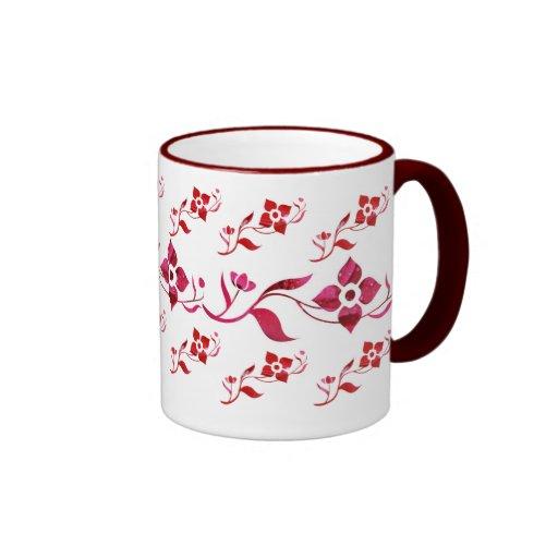 Red Flowers & Vine Mug