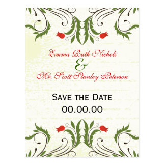 Red Flowers Vintage  Save The Date Postcard