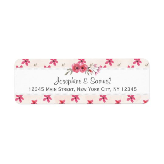 Red Flowers Watercolor Return Address Labels