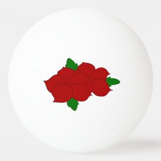 Red Flowers with Leaves Ping-Pong Ball