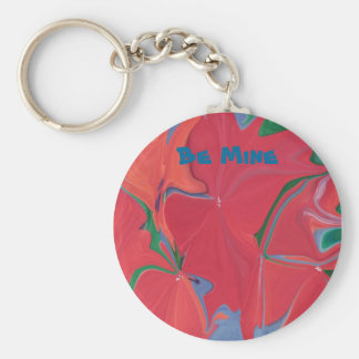 Red flowery Be Mine key ring Basic Round Button Key Ring