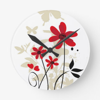 Red flowes and butterflies round clock