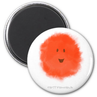 Red Fluffy Critter 6 Cm Round Magnet