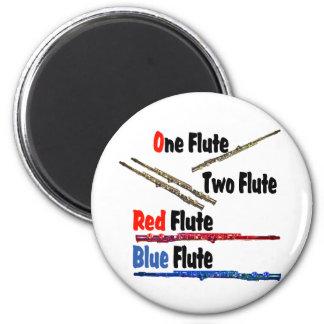 Red Flute Blue Flute 6 Cm Round Magnet