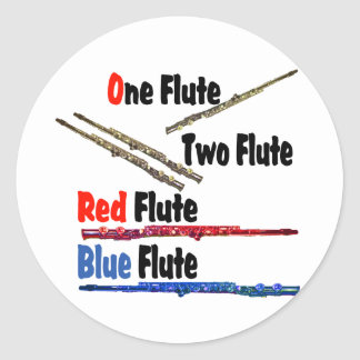 Red Flute Blue Flute Classic Round Sticker