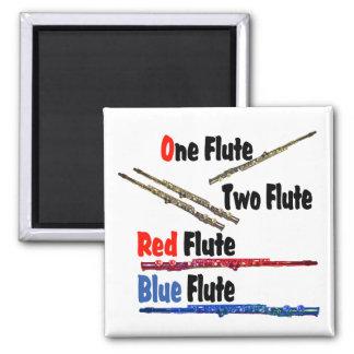 Red Flute Blue Flute Square Magnet
