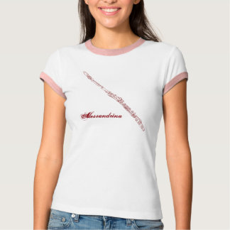 Red Flute Line Drawing Customizable Name T-Shirt
