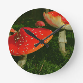 Red Fly Agaric Amanita Muscaria Mushrooms Photo Round Clock