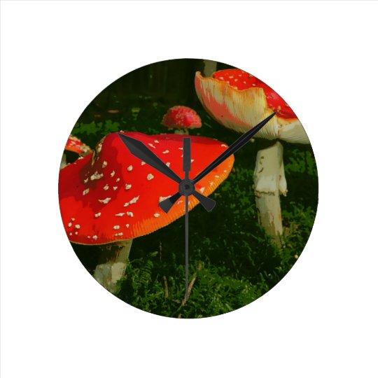 Red Fly Agaric Amanita Muscaria Mushrooms Photo Round