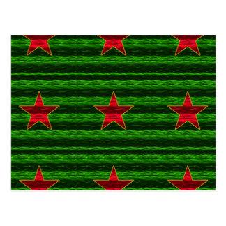 Red Foil Like Christmas Stars On Green Postcard