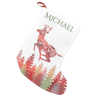 Red Foil Reindeer Forest Name Small Christmas Stocking