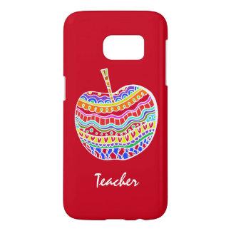Red Folk Art Apple Teacher's Samsung S7 case
