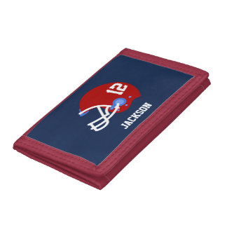 Red Football Helmet Trifold Wallet