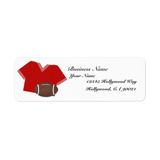Red Football Jersey Business Address Label