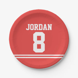 Red Football Jersey - Sports Theme Birthday Party 7 Inch Paper Plate
