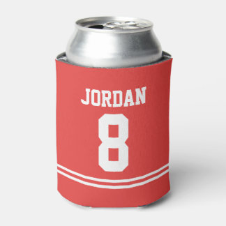 Red Football Jersey - Sports Theme Birthday Party Can Cooler
