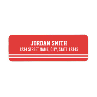Red Football Jersey - Sports Theme Birthday Party Return Address Label