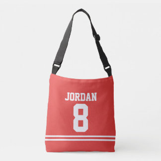 Red Football Jersey with Custom Name and Number Crossbody Bag