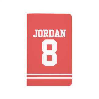 Red Football Jersey with Custom Name and Number Journal