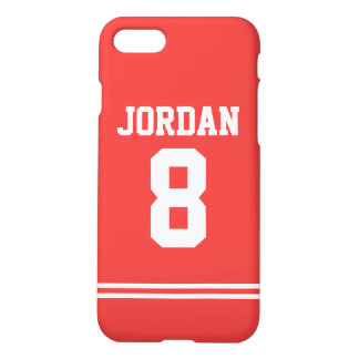 Red Football Jersey with Number iPhone 7 Case