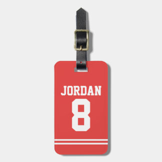 Red Football Jersey with Number Luggage Tag