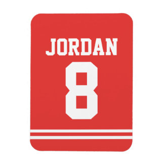Red Football Jersey with Number Rectangular Photo Magnet