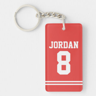 Red Football Jersey with Number Single-Sided Rectangular Acrylic Key Ring