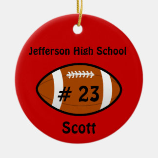 Red Football number Ornament