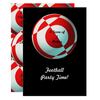 Red Football Party (add photo, change size) Card