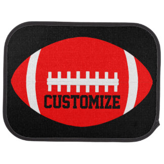 Red Football Player or Coach Custom Team Name Car Mat