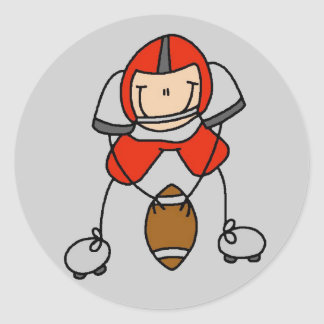Red Football Player Tshirts and Gifts Round Sticker