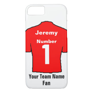 Red Football Shirt Choose name and team iPhone 8/7 Case