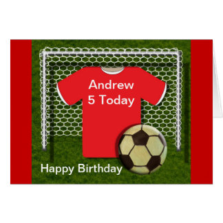 Red Football Soccer Theme Birthday Cards