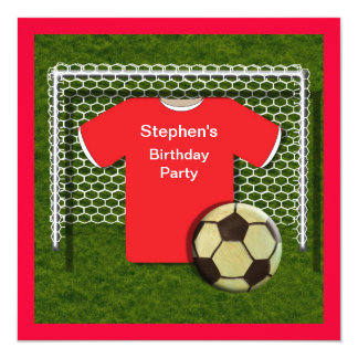 Red Football Theme Boys Birthday Party Invitations