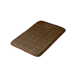 Red, Forest Green, and Yellow Gold Plaid Pattern Bath Mats