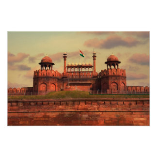 Red Fort in Delhi, India during a beautiful sunset Poster
