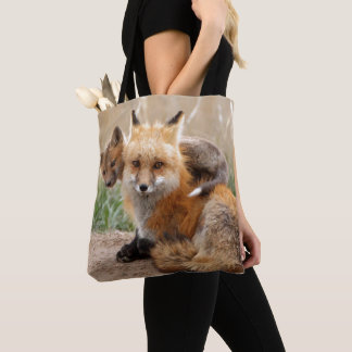 Red Fox And Baby Tote Bag