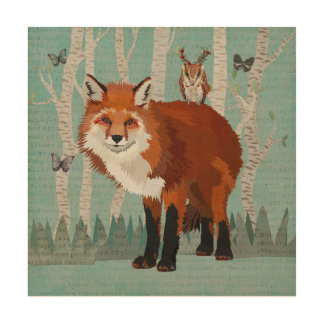 RED FOX & ANTLER OWL FOREST Wooden Canvas Wood Wall Decor
