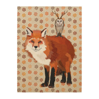 RED FOX & ANTLER OWL Wooden Canvas Wood Wall Art