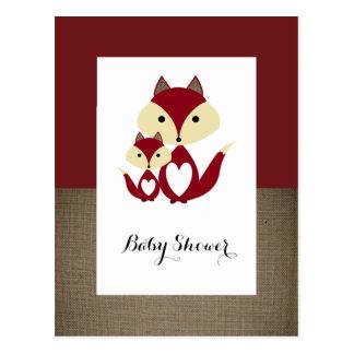 Red Fox Burlap Baby Shower Invitation Postcard