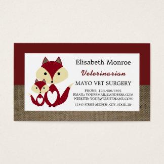 Red Fox Burlap, Veterinarian, Veterinary Business Card