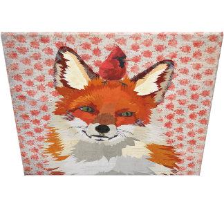 RED FOX & CARDINAL ROSE Canvas