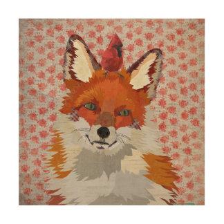 RED FOX & CARDINAL ROSE Wooden Canvas Wood Wall Art