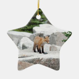 Red Fox Ceramic Star Decoration