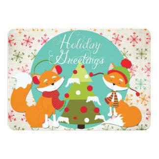 Red Fox Christmas Holiday 13 Cm X 18 Cm Invitation Card
