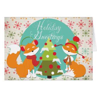 Red Fox Christmas Holiday Greeting Card