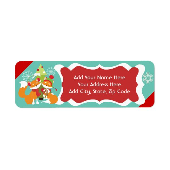 Red Fox Christmas Return Address Labels