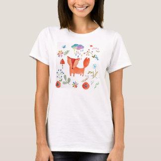 Red fox colorful rain, modern print T-Shirt