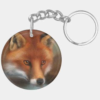 RED FOX Double-Sided ROUND ACRYLIC KEY RING