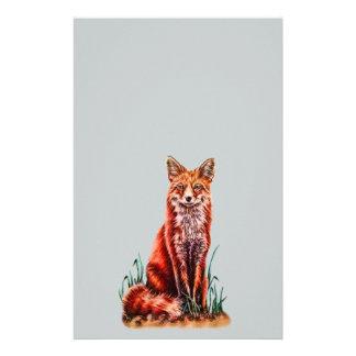 Red Fox Drawing Animal Art Pencil Sketch Foxy Stationery